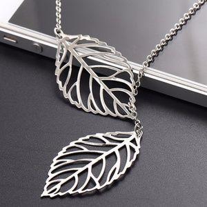 Silver Double Leaf Pendant Necklace
